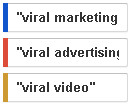 Легенда к графику viral marketing, viral advertising, viral video.